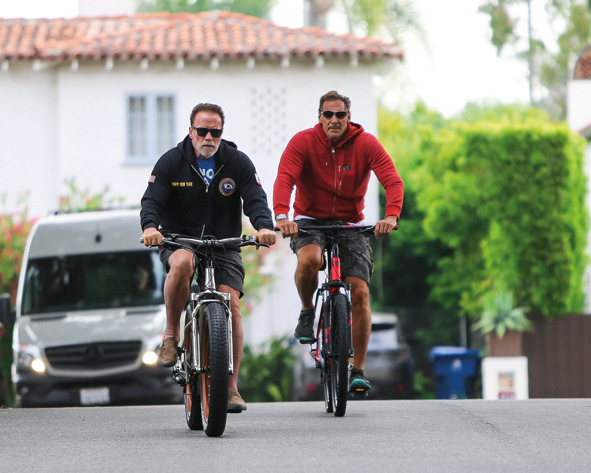 LOS ANGELES, CA - JUNE 02: Arnold Schwarzenegger and Ralf Moeller are seen on June 02, 2020 in Los Angeles, California. (Photo by BG004/Bauer-Griffin/GC Images)